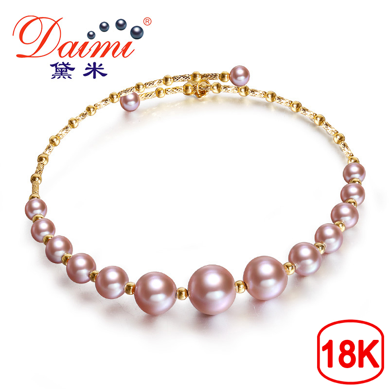 DAIMI Purple Series Bangles 3 5 7 5mm Elastic Pearl Bangles 18K Gold Genuine Bangles Jewelry