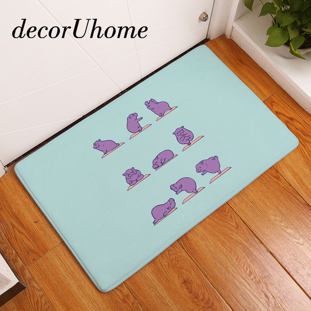 DecorUhome Flannel Waterproof Light Mats Cartoon Cute Funny Yoga Animals Carpets Living Room Rugs Decorative Stair