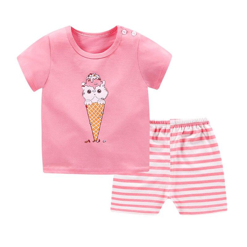 Humorvoll Neue Infant Sommer Pyjama Set Kleinkind Kurzarm Nachtwäsche Mädchen Jungen Schlafanzug Anzug Kinder Zwei Stück Pijamas Hause Cartoon Kleidung