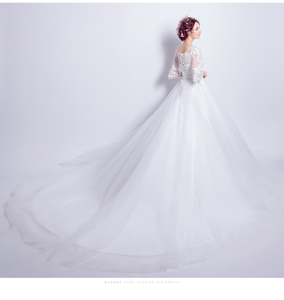 Angel Wedding Dress Marriage Bride Bridal Gown Vestido De Noiva 2017 Boat Neck horn sleeve, big tail 6910 15