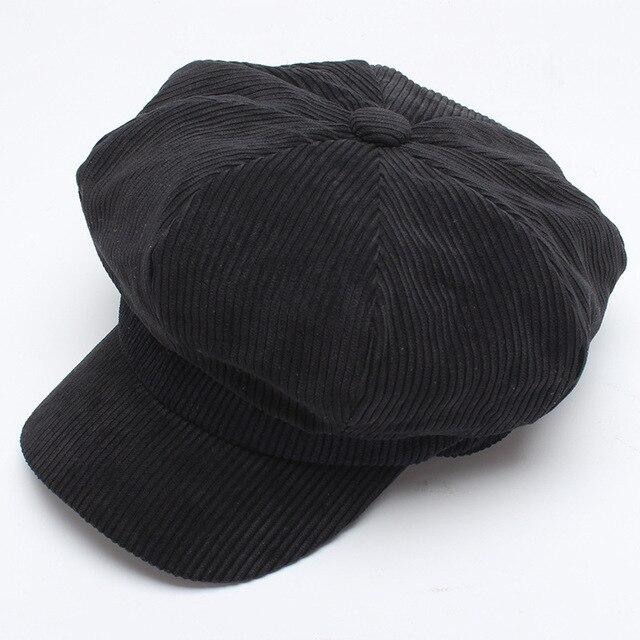Women Hat Beret Corduroy...