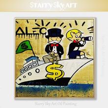 Professional Artist Hand-painted Special Fine Art Rich Man Moneybags Oil Painting on Canvas and Newspaper for Wall Decoration