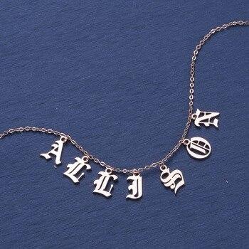 DUOYING Старый английский стиль на заказ крошечные буквы кулон ожерелье s Красота Винтаж шрифт индивидуальный чокер имя ожерелье для Etsy