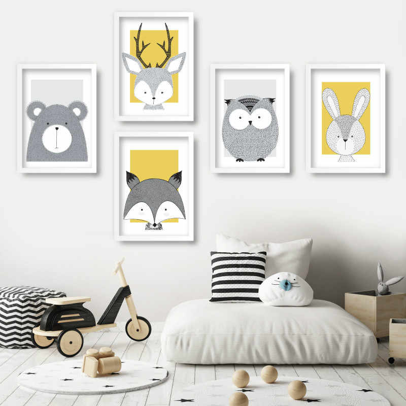 Nursery Art Animals Gallery Wall Art Prints Yellow Bear Fox Deer Owl Rabbit Scandinavian Sketch Picture Posters Kids Room Decor