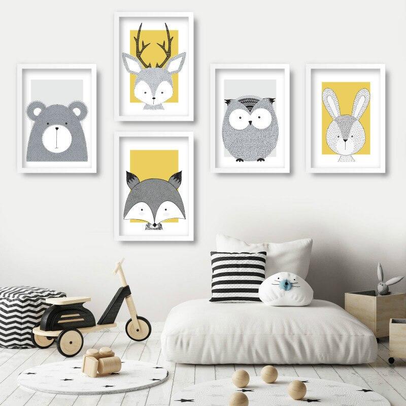Nursery Art Animals Gallery Wall Art Prints Yellow Bear Fox Deer Owl Rabbit Scandinavian Sketch Picture Posters Kids Room Decor