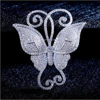 De Alta Calidad AAA + zircon de la mariposa Broches pins para ramos de novia broches mujer Encantadora Broche de Animales