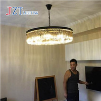 Z American Style Luxury Crystal Chandelier Iron Retro Round Pendant Lights For Villa And Study Room