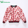 Claladoudou 2017 New Disign High Quality Girls Dress Coats Print Flower Red Jackets For Kids Girls Western Style Toddler Coats