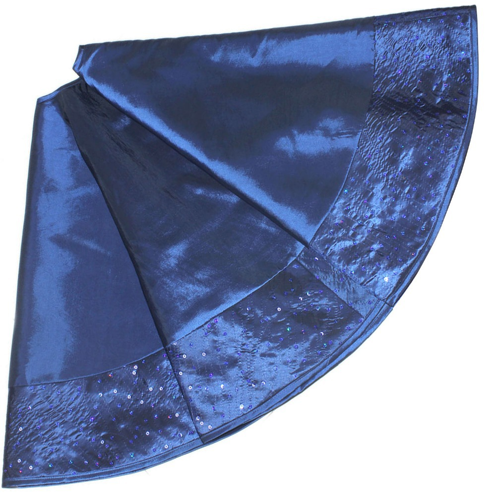 free shipping extra large 50 faux silk christmas tree skirt sparkle elegant sequin border deep blue in tree skirts from home garden on aliexpresscom