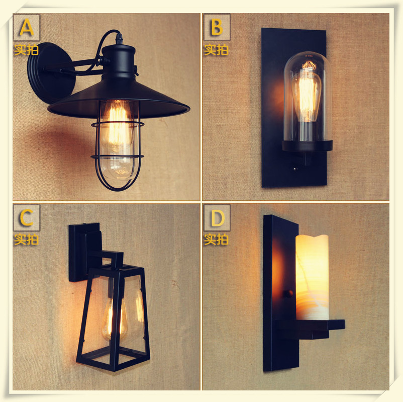 Loft American country style living room wall lighting industrial warehouse aisle bar decorated wall lamp,E27 AC110-240V american country retro industrial loft living room modo living room wall lamp bedside lamp wall lamp glass beanstalk study