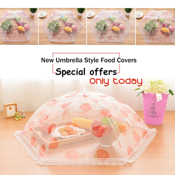 Lace 75cm Dust Cover Anti Fly Food Covers Food Umbrella Cover Kitchen Accessories Mosquito Mesh Net Creative Dining-Table titanium ring