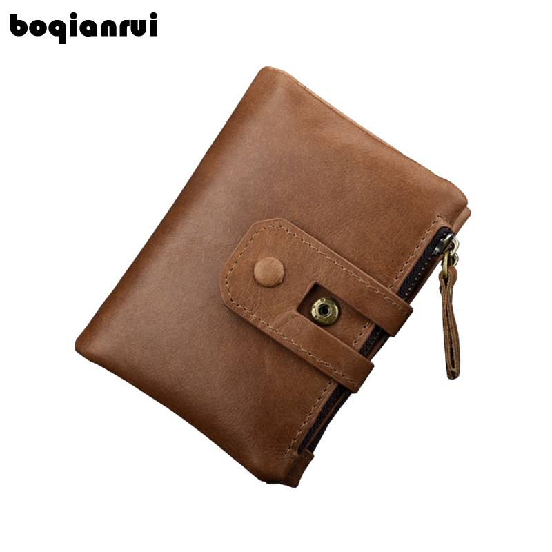 Genuine Leather Men Wallet Small Men Walet Vintage Style Men Wallet Zipper&Hasp Male Coin Purse Fashion Brand Purse Card Holder