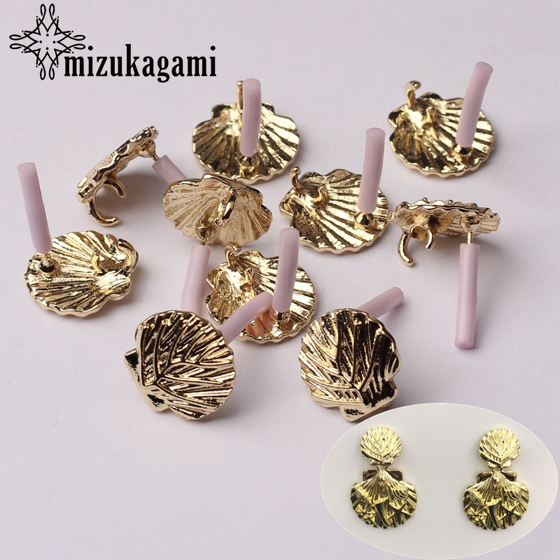 Zinc Alloy Golden Shell Shape Earrings Base Connectors Linker 14mm 6pcslot For DIY Fashion Earrings Jewelry Making Accessories