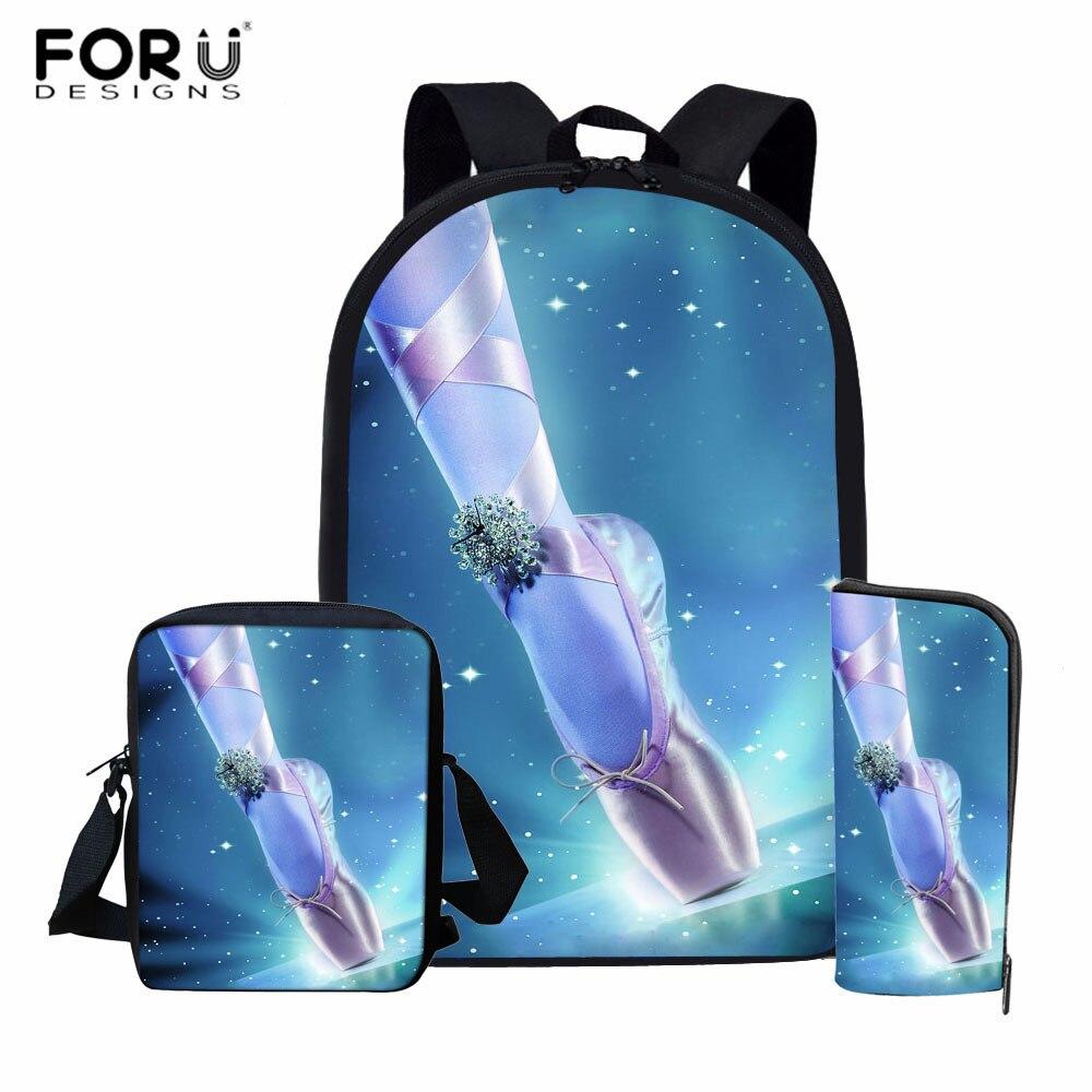FORUDESIGNS Ballet Shoe Print Backpack For Girls Pretty School Bag Primary Student Rucksack Kids Girls Dancer Bagpack Sets