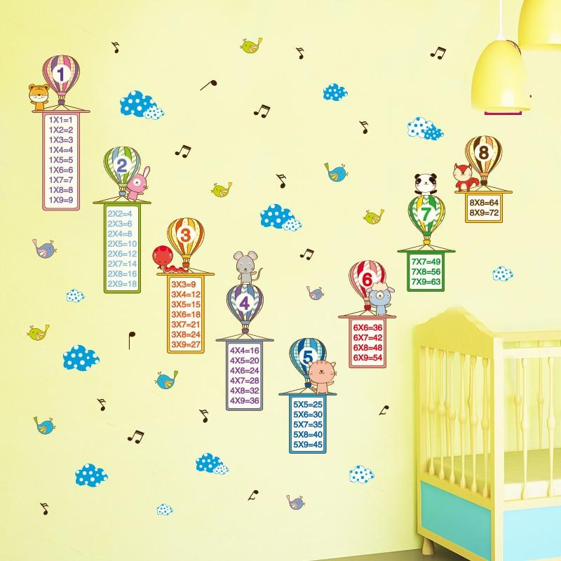 [SHIJUEHEZI] Colorful Balloonss Wall Stickers DIY Cartoon Multiplication Table Wall Art for Kids Room Kindergarten Decoration