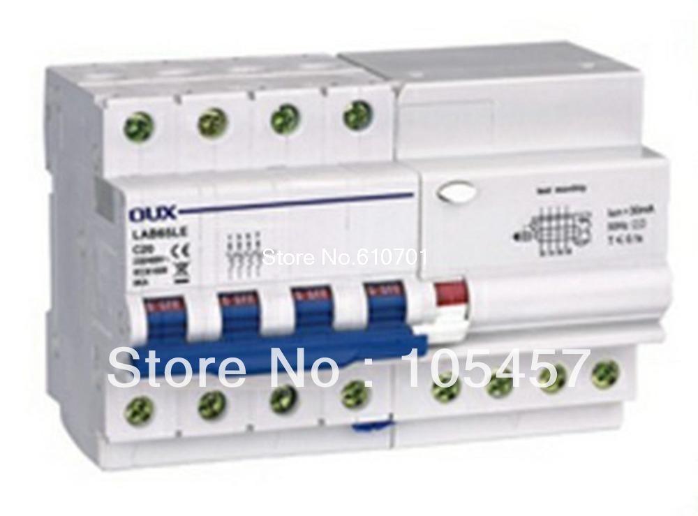 цена на C60 Type ELCB Circuit Breaker 4P+N AC230/400V 10/16/20/25/32/40A 300mA 6KA Delay