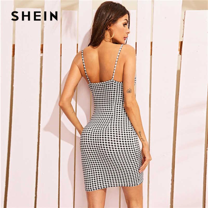 Шеин, платье на бретельках с принтом в мелкую клетку, черно-белое, 2019, женская одежда, летнее, облегающее, без рукавов, на бретельках, сексуальное платье-комбинация