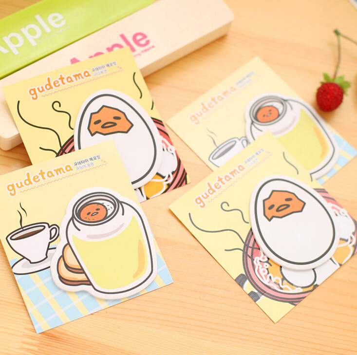New Arrival Gudetama Lazy Egg Self-Adhesive Memo Pad Sticky Notes Bookmark School Office Supply