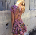 2017 Fashion Luxury Runway Woman Pink Tropical floral print Lattice Dress cutout Crossover straps back lace trims Short Sleeved
