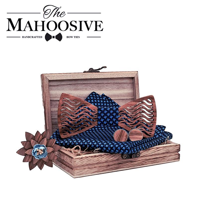 Mens Wood Bow Tie Set Men Handkerchief Wooden Bowtie Cufflinks Handkerchief Necktie Silk Ties Wedding Party Hombre With Gift Box