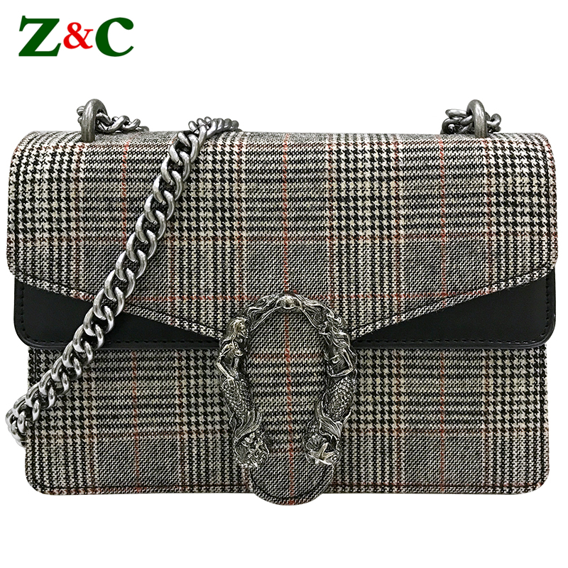 Special Channels Women Wool Crossbody Bag Luxury Women Handbag Plaid Lattice Purse Designer Brand Ladies Chain Flap Shoulder Bag lkprbd 2018 chain bag ladies handbag brand handbag authentic small crossbody bag purse designer v bolsas women