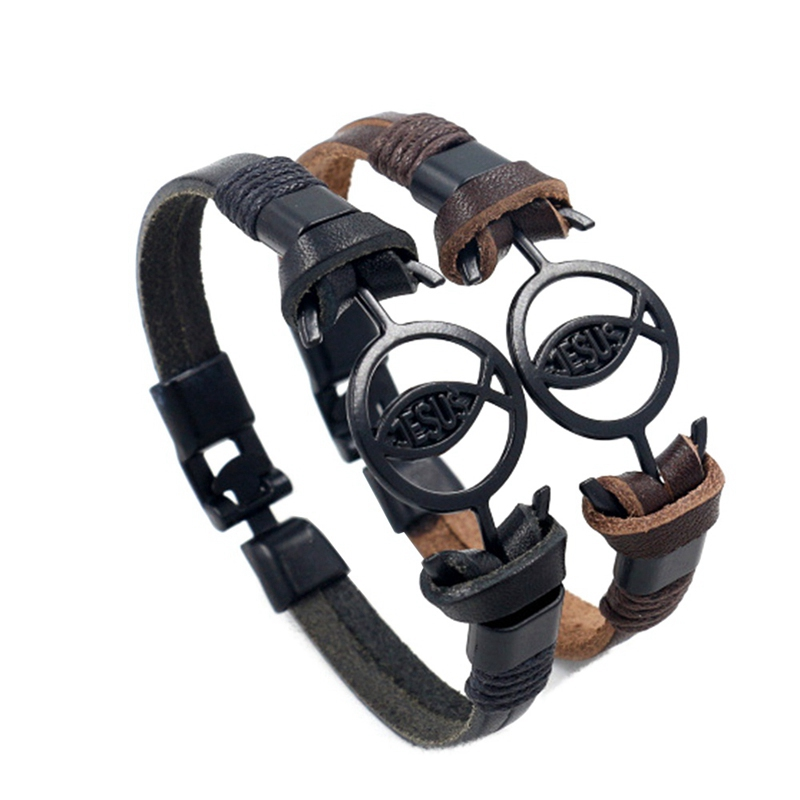 Vintage Jesus Fish Bracelet Christian Bracelets Lord'S Prayer Bracelet Male Leather Wrist Hand Band Jewelry