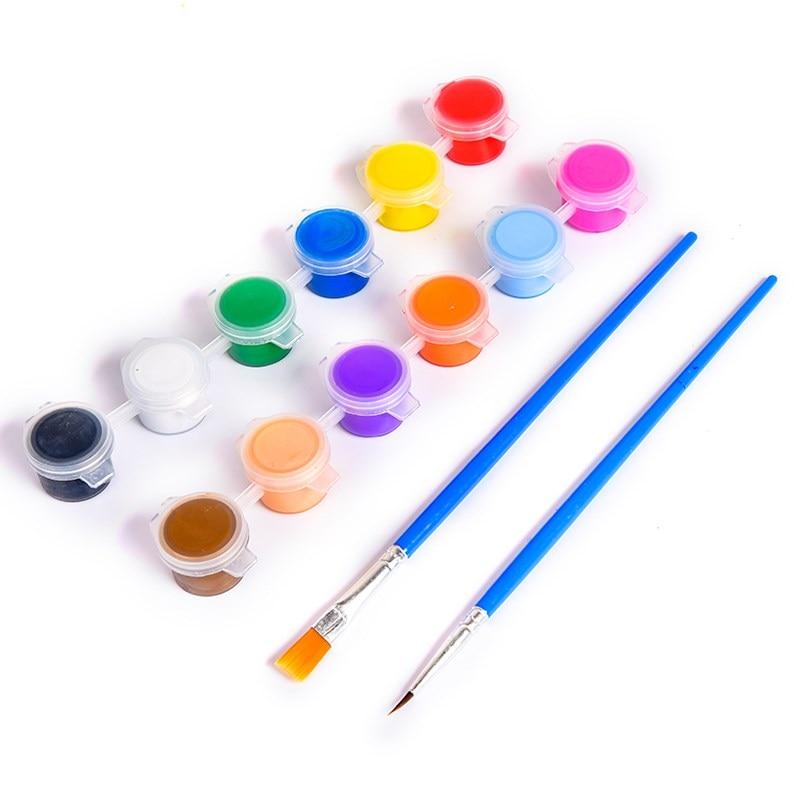 Zuversichtlich 12 Farben Acryl Farben Waterbrush Pigment Set Für Kleidung Textil Stoff Hand Gemalt Wandputz Malerei Zeichnung Für Kinder