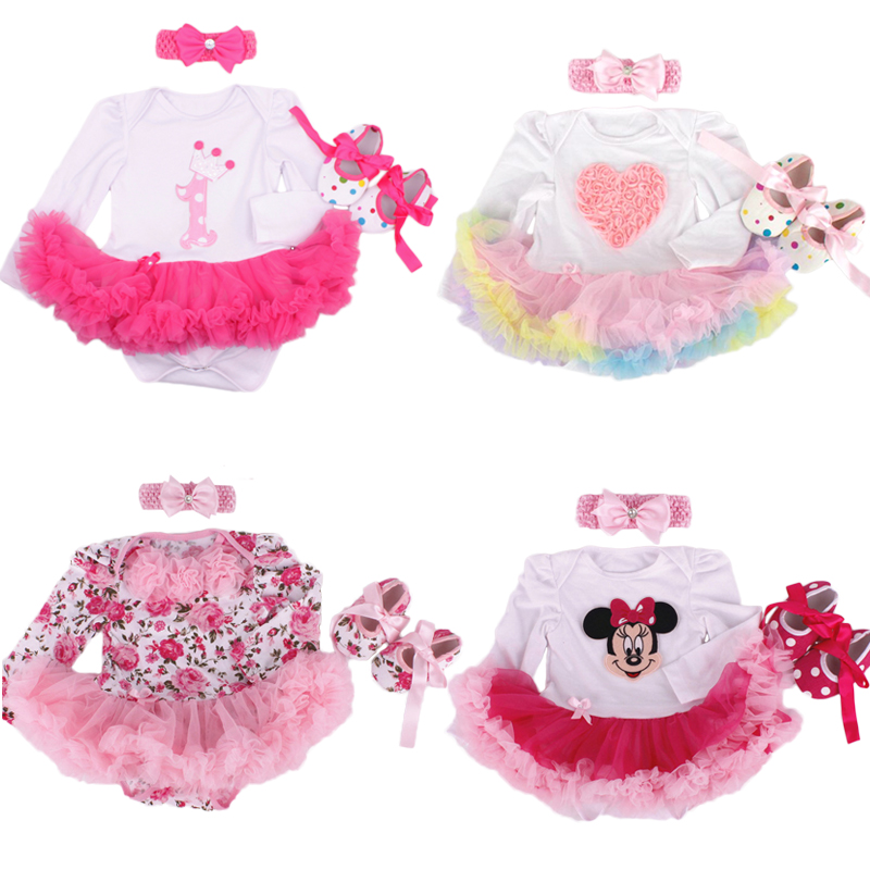 Baby Girl Infant 3pcs Clothing Sets Long Sleeve Tutu Romper Dress/Jumpersuit+Headband+Shoes Bebe Birthday Party Costumes Vestido