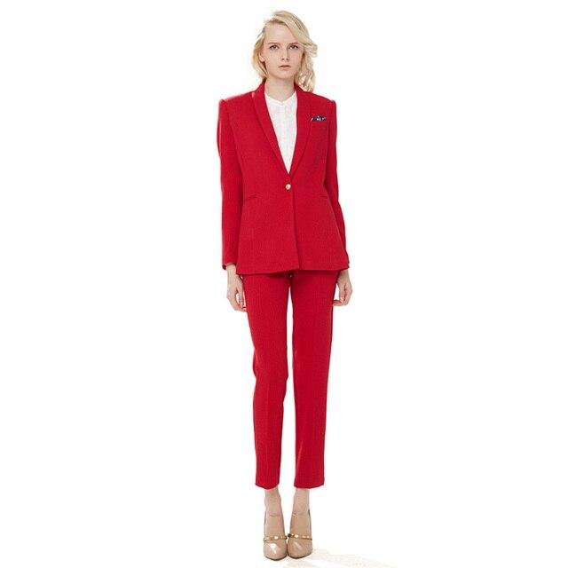 Veste + Pantalon Rouge Femmes Costumes Blazer Femelle Bureau Uniforme Pantalon  2 pièce Costumes Dames Hiver 1ed970007557