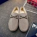 2016 Hombres De Alta Calidad Zapatos de Cuero de LA PU Hombres Nudo Zapatos Mocasines con Piel De Hombre Pisos Resbalón En Los Zapatos Mocasines Zapatos de la Nieve Zapatos de Controladores