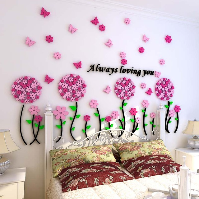 Pink Dandelion Flowers Pattern Acrylic Stickers Wall Sticker for ...