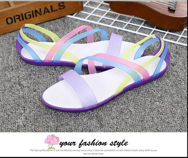 66f664c0eab1e Women Sandals 2016 Summer New Candy Color Peep Toe Stappy Beach Valentine  Rainbow croc Jelly Shoes Woman Wedges Sandalias