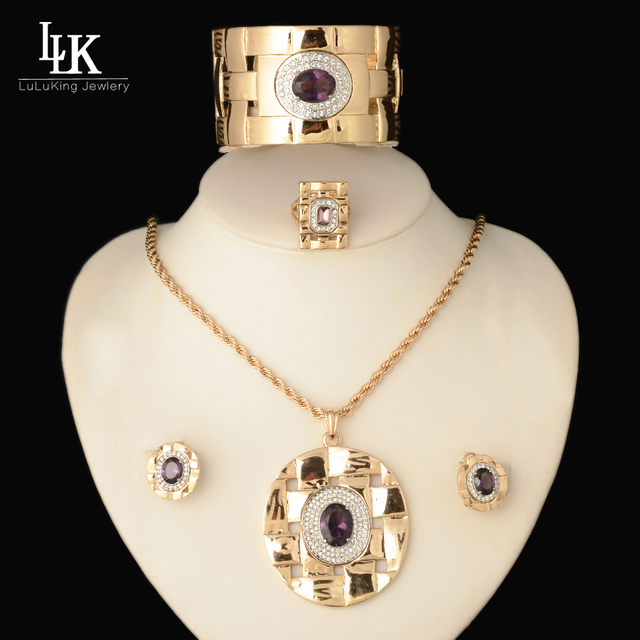 2016 New Vogue Large Pendant Bracelet Long Necklace Earrings Ring Set Crystal Purple Champagne African Beads Jeweller Sets Women