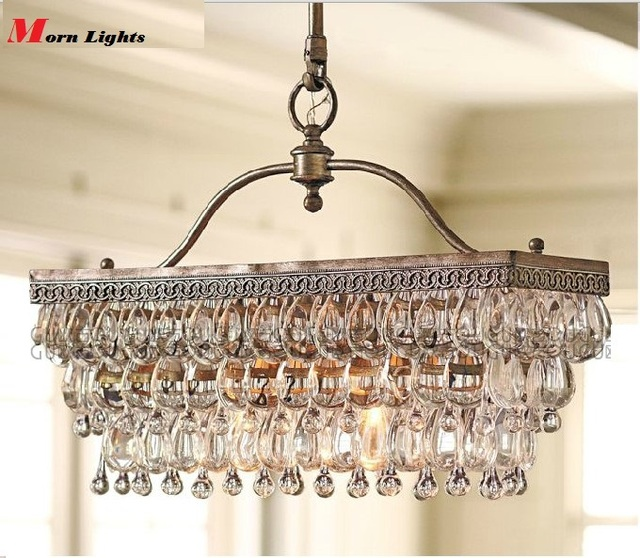 Antique Rectangular crystal dining Room chandelier crystal american style modern luxury  Iron pendant chandelier lighting