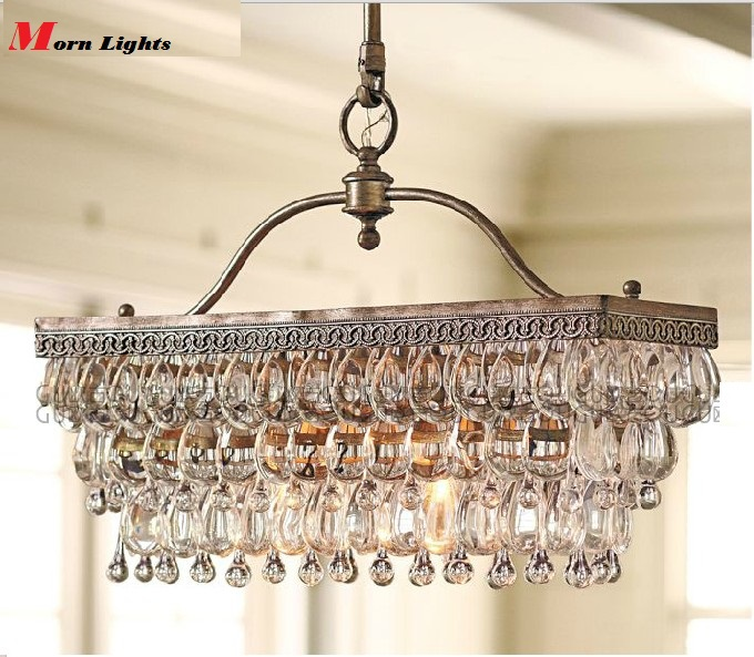 Antique rectangular crystal dining room chandelier crystal antique rectangular crystal dining room chandelier crystal american style modern luxury iron pendant chandelier lighting in chandeliers from lights aloadofball Images