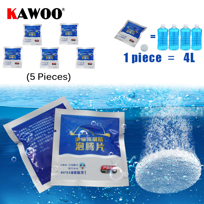 KAWOO 2019 Auto Car Windshield Glass Wash Cleaning Concentrated Effervescent Tablets Cleaner Car Glass Cleaner Washer 5pcs/lot image