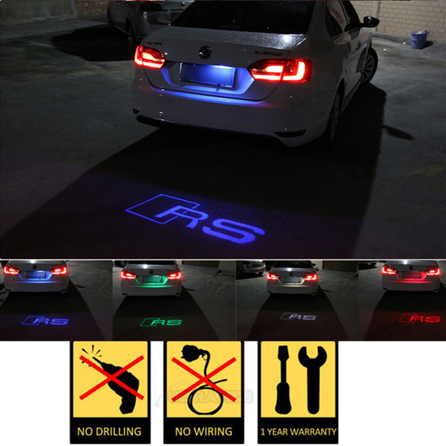 X LED Car License Plate Lights Shadow Led Projector Logo FOR - Audi car number
