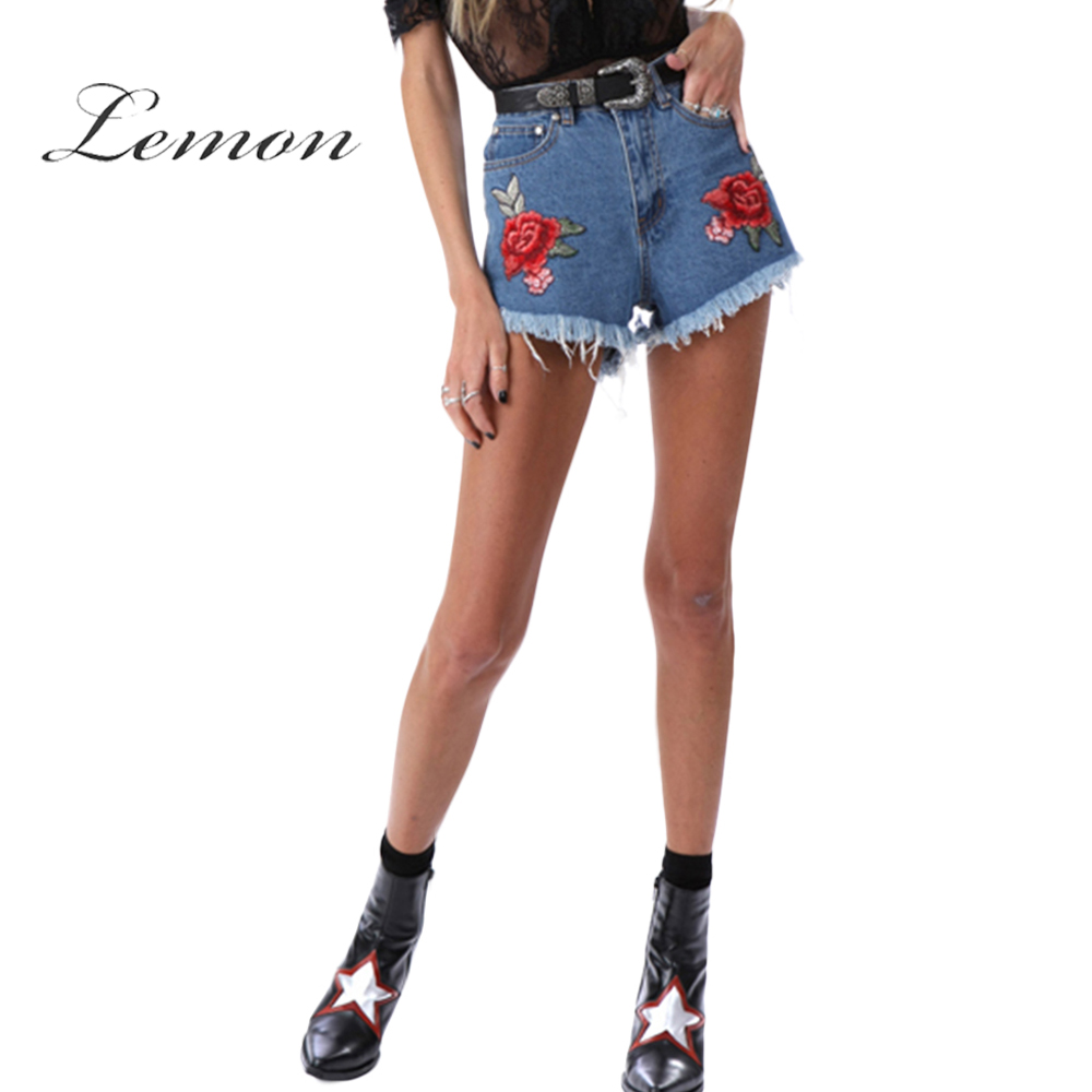 Lemon Floral Embroidery Shorts Women High Waist Denim Shorts Female Elegant Vintage Cute Jeans Ladies new denim mesh spliced fishnet sexy jeans shorts high cut vintage cute bikini low rise waist micro mini hot short culb wear f35