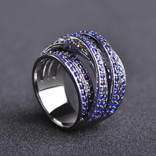 Dazz Brand Luxury Geometric Multi-Layer Cubic Zircon Blue Crystal Engagement Dubai Unisex Rings Bride Womens Ring Jewelry Gifts
