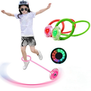 Outdoor Fun Toys Balls Elastic LED Flash Jumping Foot Force Ball Jumping Ring Jumping Circle Bouncing Ball Toys For Children