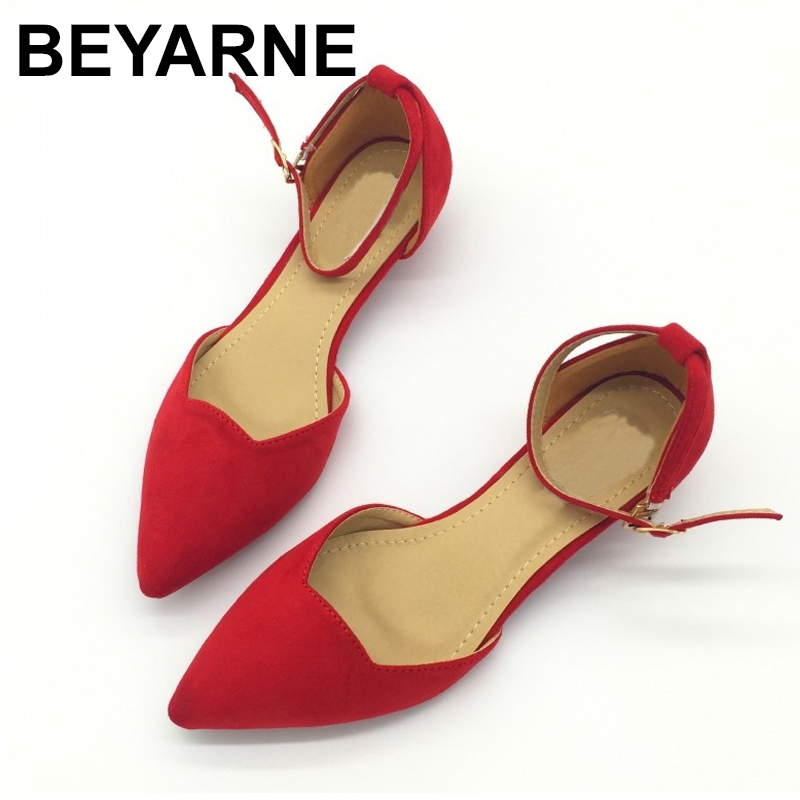 BEYARNESexy Women Buckle Strap Low Heels Pumps Spring Autumn Pointed Toe Flock D'Orsay Heels Shoes For Woman Ladies Single Shoes