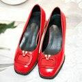 Aiweiyi med bombas de la plataforma de charol oxfords zapatos de punta cuadrada Zapatos de tacón Negro Rojo Zapatos de Vestir Casual para Mujeres Tamaño 34-43