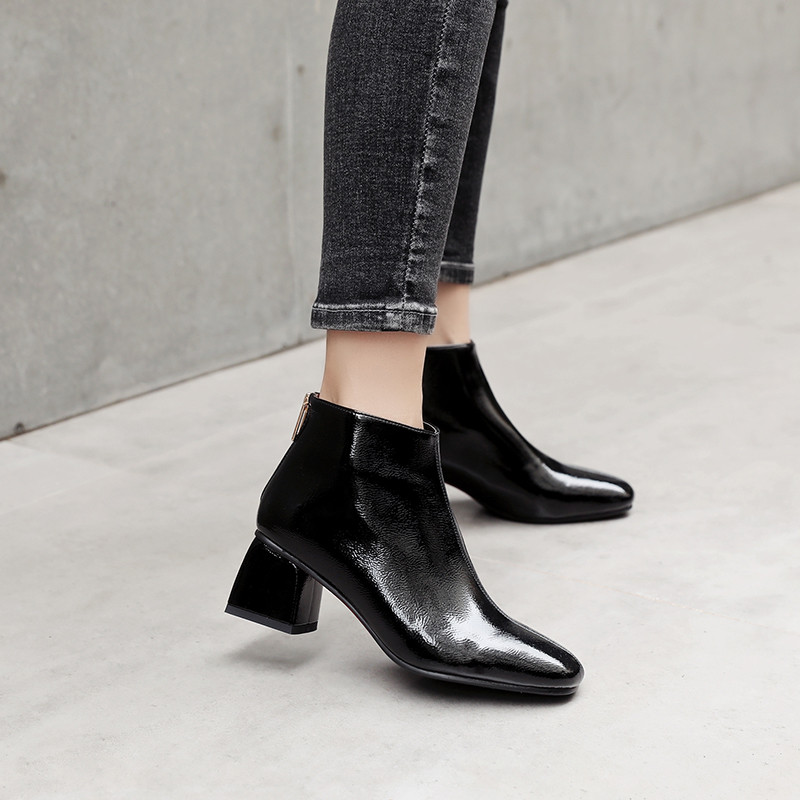 YMECHIC 2018 Fashion Autumn Pu Patent Leather Block High Heels Ankle Boots Apricot Black Office Career
