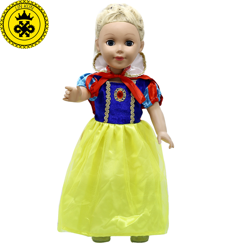 American Girl font b Doll b font Clothes Cosplay Snow White Princess Dress fit 18 inch