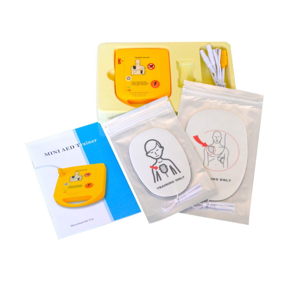 New Electronic Mini AED Simulation/Trainer First-aid Device External Defibrillator Teaching Machine In French+1 CPR Face Shield