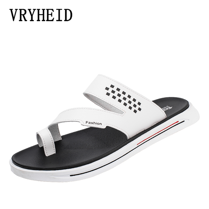 VRYHEID Summer Luxury Brand 2019 New Men's Slippers High Quality Leather Flip Flops Summer Fashion Beach Sandals Shoes For Men