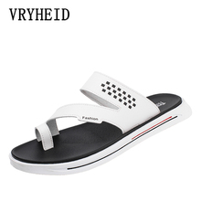 VRYHEID Summer Luxury Brand 2019 New Mens Slippers High Quality Leather Flip Flops Fashion Beach Sandals Shoes For men