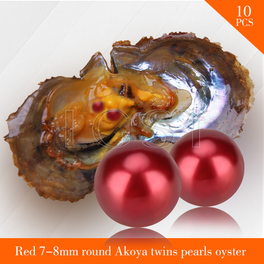 FREE SHIPPING Bead Red 7-8mm round Akoya twin pearls in oysters with vacuum package for women jewelry making 10pcs akoya oyster cluci free shipping get 40 pearls from 20pcs 6 7mm aaa blue round akoya oysters twins pearls in one oysters
