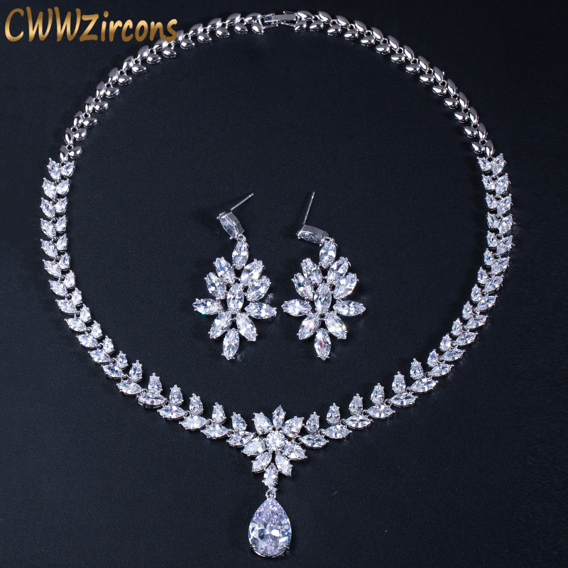 CWWZircons Luxury Cubic Zirconia Bridal Jewelry Accessories Crystal Long Big Wedding Earrings And Necklace Sets For Brides T144 цена