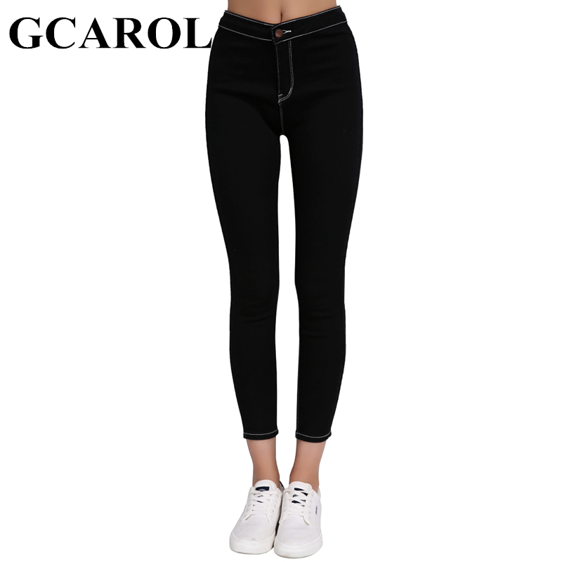 GCAROL New Arrival Bright Line High Waisted Women Denim Jeans Stretch Slim Cowboy Pencil Pants 26-32 Spring Autumn Winter Pants women jeans autumn new fashion high waisted boyfriend street style roll up bottom casual denim long pants sp2096
